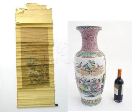 A large 20thC Chinese famille rose vase decorated with imperial figures and elders surrounded by