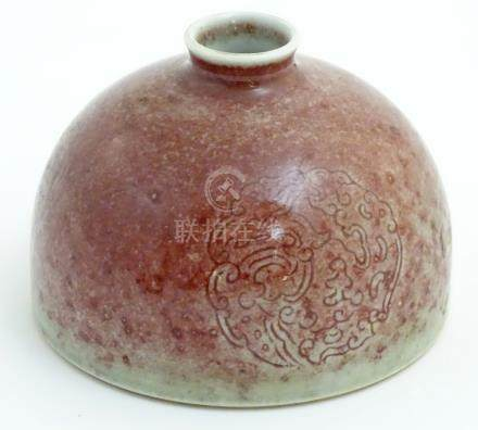 A Chinese sang-de-boeuf pot/taibai zun formed as a dome,