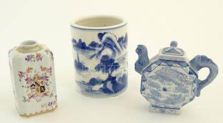 Three assorted Chinese ceramics comprising a blue underglaze brush pot with a mountainous landscape,