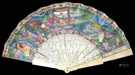 A mid 19th century large Chinese Canton ivory and painted paper fan