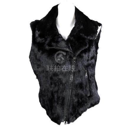 ARMANI - a black coney fur gilet. Designed with a