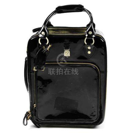 ASPINAL OF LONDON - a black patent leather rolling