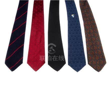 BALENCIAGA - five ties. To include a navy blue wool tie