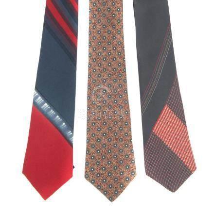 BALMAIN - six ties. To include a beige tartan tie, a