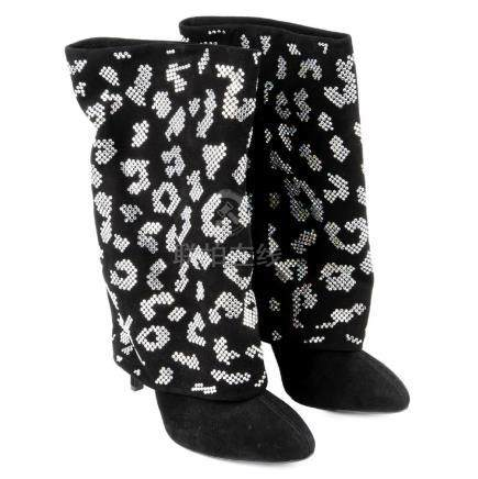 BALMAIN - a pair of black embellished suede Babette