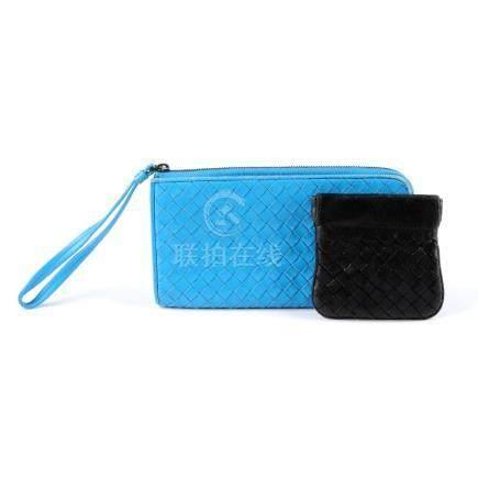 BOTTEGA VENETA - an Intrecciato wallet and coin pouch.