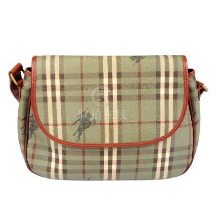 BURBERRY - a green Haymarket Check handbag. Designed
