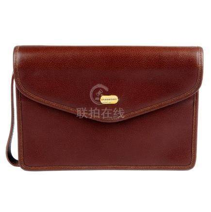 BURBERRY - a brown leather clutch. Featuring a brown