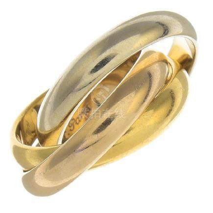 CARTIER - an 18ct gold 'Trinity' ring. Of tri-colour