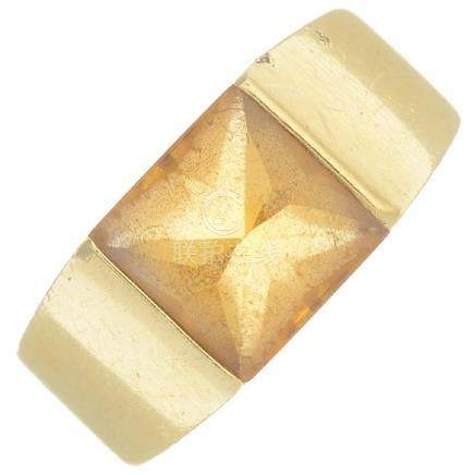 CARTIER - a citrine 'Tank' ring. The square-shape