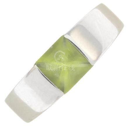CARTIER - a peridot 'Tank' ring. The square-shape