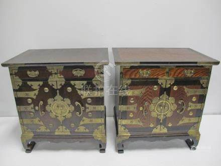 Antique Chinese pair of wood & bronze nightstands