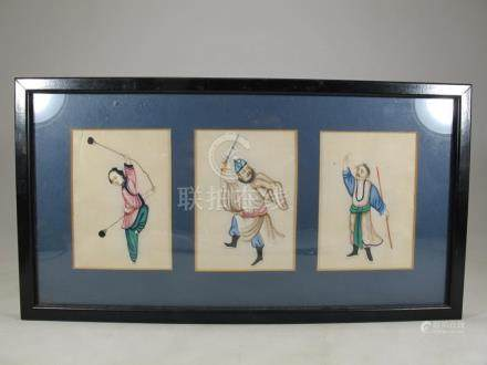 Vintage Chinese 3 fig painting