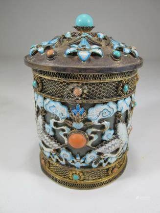 Antique Chinese Export filigree silver, jade & enamel box