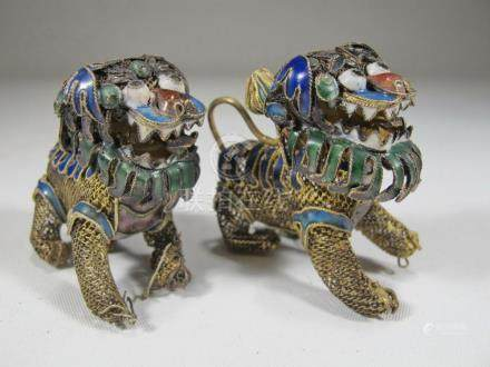 2 Antique Chinese Export filigree silver & enamel foodogs