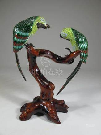 Chinese Export silver, jade & enamel parrots