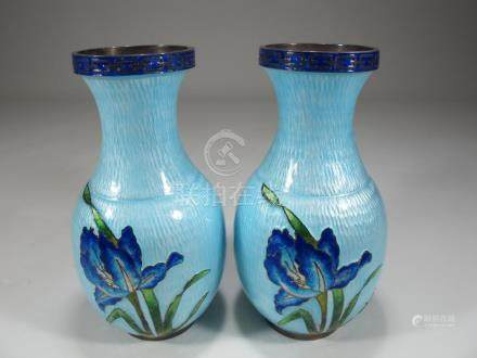 Antique Chinese Export pair of silver & enamel vases