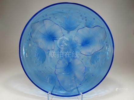 Antique chinese Pekin glass high relief large plate