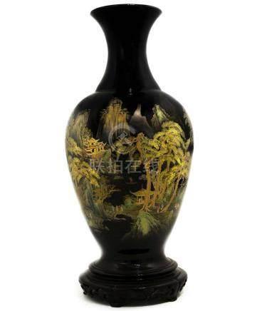 Vase with landscape depiction on a black background. XX Cent