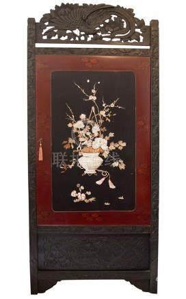 Corner cupboard. Door decorated with big flower basket with