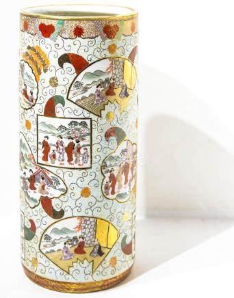 Porcelain Satsuma Umbrella stand. H Cm 48