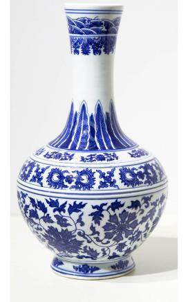 Bottle. White background with blue flowers decorations. Chin