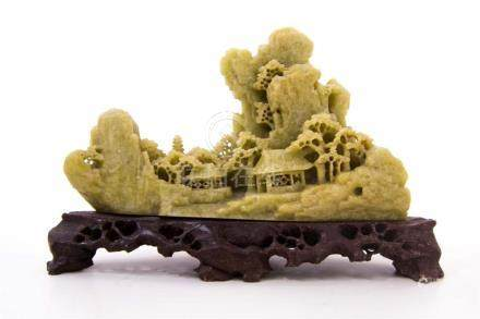 Landscape sculpture in steatite. Early of XX Century. China.