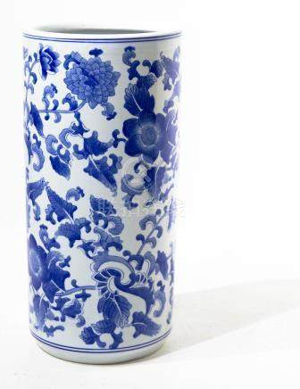 Umbrella stand with blue flower decorations. China, 20th cen