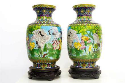Pair of porcelain vases with bird decorations, China, XX Cen