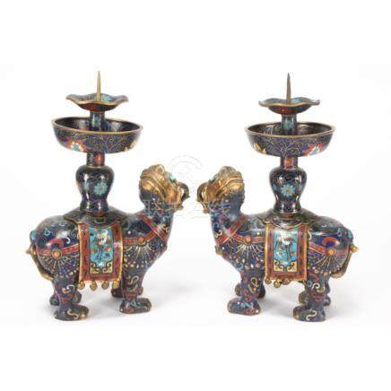 Good Pair of Chinese Cloisonné Candlesticks,