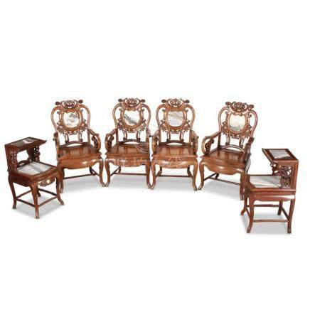 Splendid Set of Four Chinese Armchairs and Tables,