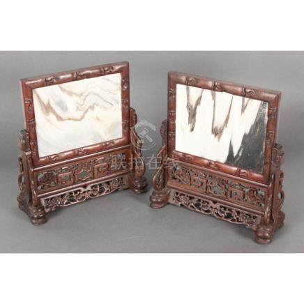 Good Pair of Chinese Dali Marble Table Screens,