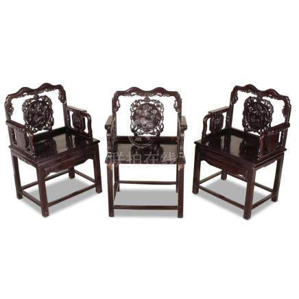 Set of Three Heavy Chinese Armchairs,