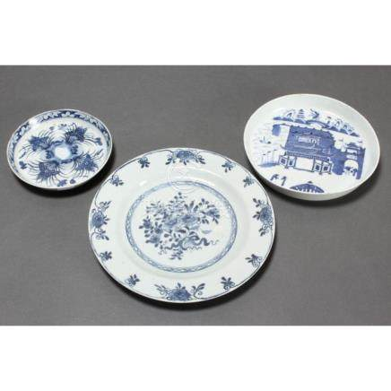 Three Chinese Blue and White Porcelain Dishes,
