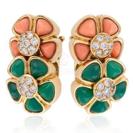 VAN CLEEF & ARPELS. Very charming pair of coral,