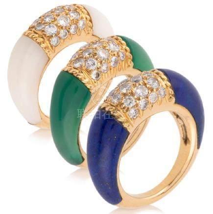 VAN CLEEF & ARPELS. Elegant set of three multi-gems and