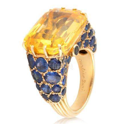CARTIER. Very nice not heated yellow sapphire mounted