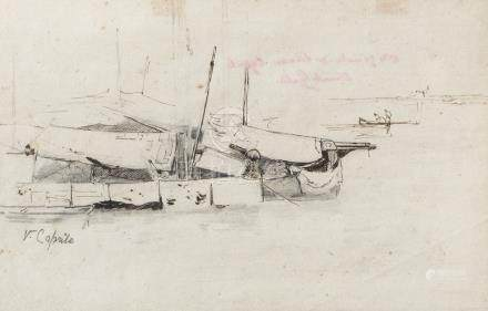 NEAPOLITAN PAINTER, LATE 19TH CENTURY The fishing Five inks on paper, cm. 20 x 28 and cm. 21 x 20
