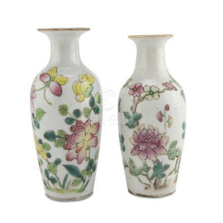PAIR OF SMALL PORCELAIN VASES IN POLYCHROME ENAMELS, CHINA EARLY 20TH CENTURY decorated with peonies