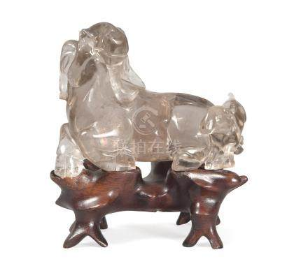 GROUP IN ROCK CRYSTAL, CHINA 19TH CENTURY representing two rams. Measures cm. 7 x 8. GRUPPO IN