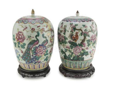 A PAIR OF POTICHES IN POLYCHROME ENAMELLED PORCELAIN, CHINA 19TH CENTURY decorated with treasures of
