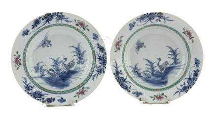 A PAIR OF POLYCHROME PORCELAIN DISHES, CHINA 20TH CENTURY decorated with birds, landscape and floral