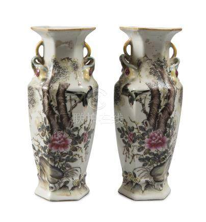 A PAIR OF SMALL PORCELAIN VASES, CHINA REPUBLICAN PERIOD (1912-1949) in white enamel and polychromy,
