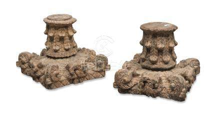 A PAIR OF WOOD CAPITALS, INDIA LATE 19TH CENTURY carved to twisted leaves and lotus flowers.