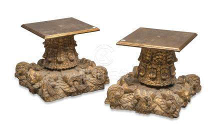 A PAIR OF GILTWOOD CAPITALS, INDIA, LATE 19TH CENTURY carved to leaves and lotus flowers. Suited for