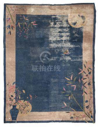 RARE CHINESE CARPET, PEKING 19TH CENTURY empty blue field, with design of bamboo, sacred jewel,
