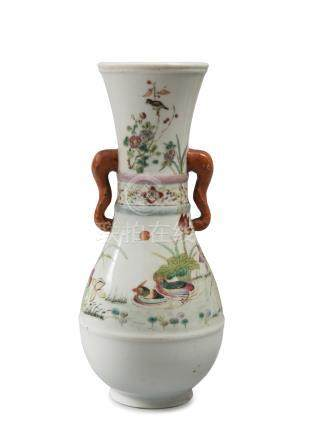 PORCELAIN VASE, CHINA LATE 19TH CENTURY shaped as trumpet, in white enamel and polychromy, decorated