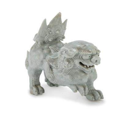 CELADON SCULPTURE, JAPAN FIRST HALF OF THE 20TH CENTURY representing a mighty shishi. Defects and