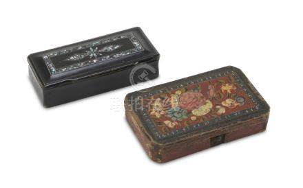 TWO WOOD BOXES, CHINA 20TH CENTURY decorated with nacre inserts on black lacquer and painted