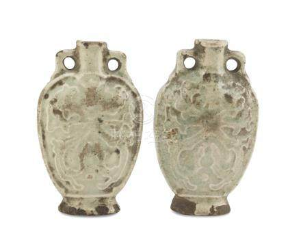 A PAIR OF SMALL GLAZED PORCELAIN VASES CELADON, CHINA 20TH CENTURY decorated with big stylized lotus